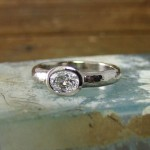 Oval Old Mine Cut Diamond Hammered Gold Engagement Ring