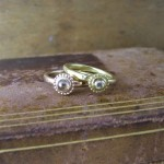 Small Rose cut Diamond Beaded Engagement Rings