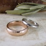 Rose Gold & Palladium Beaten Wedding Bands