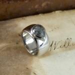 Grey Pear Rose cut Diamond Unusual Engagement Ring