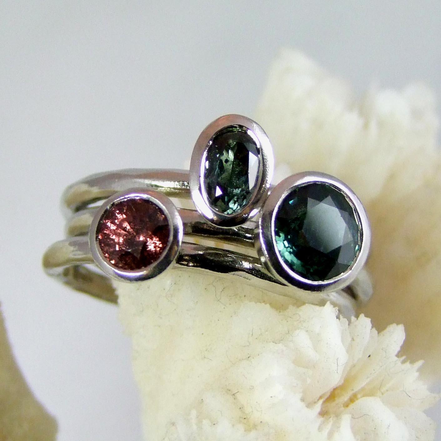 Handmade Sapphire Stacking Rings