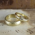 His & Hers Beaten Gold Wedding Rings