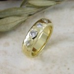 Victorian Old Cut Diamond & Heavy Beaten Gold Unusual Wedding Ring