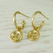 Button Hoop Earrings