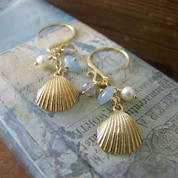 Clamshell Long Earrings