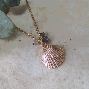rose clamshell pendant