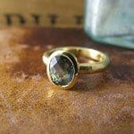 Blue Green Sapphire Ring