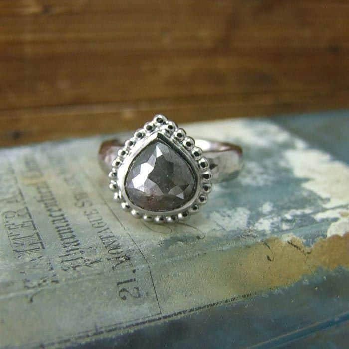 Pear Shape Rose Cut Diamond Ring Alexis Dove Jewellery
