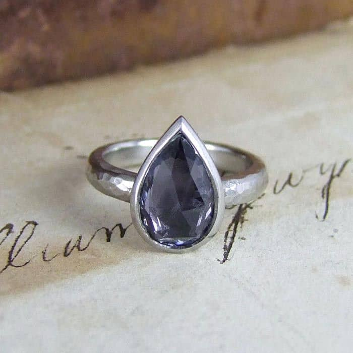 Grey Sapphire Rose Cut Unusual Engagement Ring