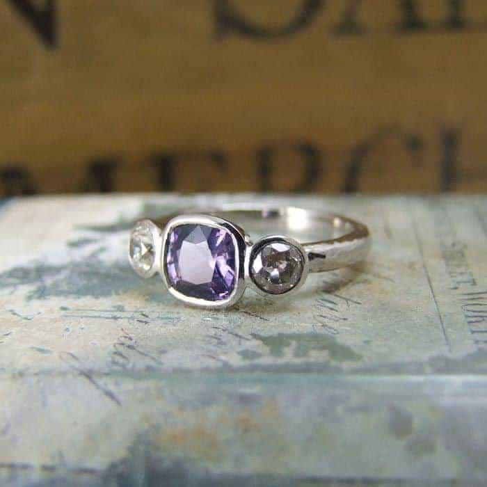 Purple Sapphire Old Mine Cut Diamond three Stone Ring