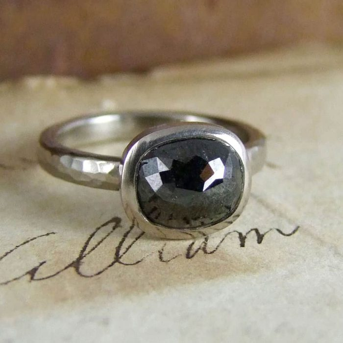 Black Rose cut Diamond Unusual Engagement Ring
