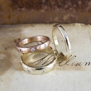 Hammered gold & Diamond Rings