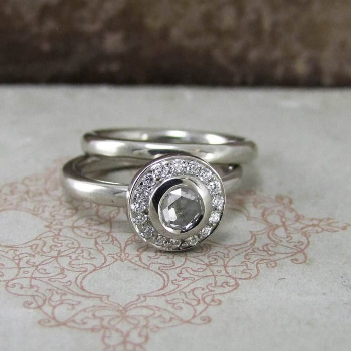 Platinum & White Diamond Rose Cut Halo Engagement Ring With Matching Wedding Band
