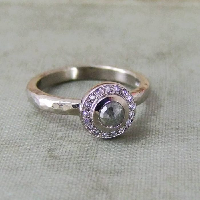 Round Rose Cut Pave Set Engagement Ring