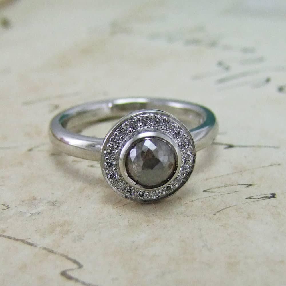 Grey Diamond Rose Cut Halo Ring