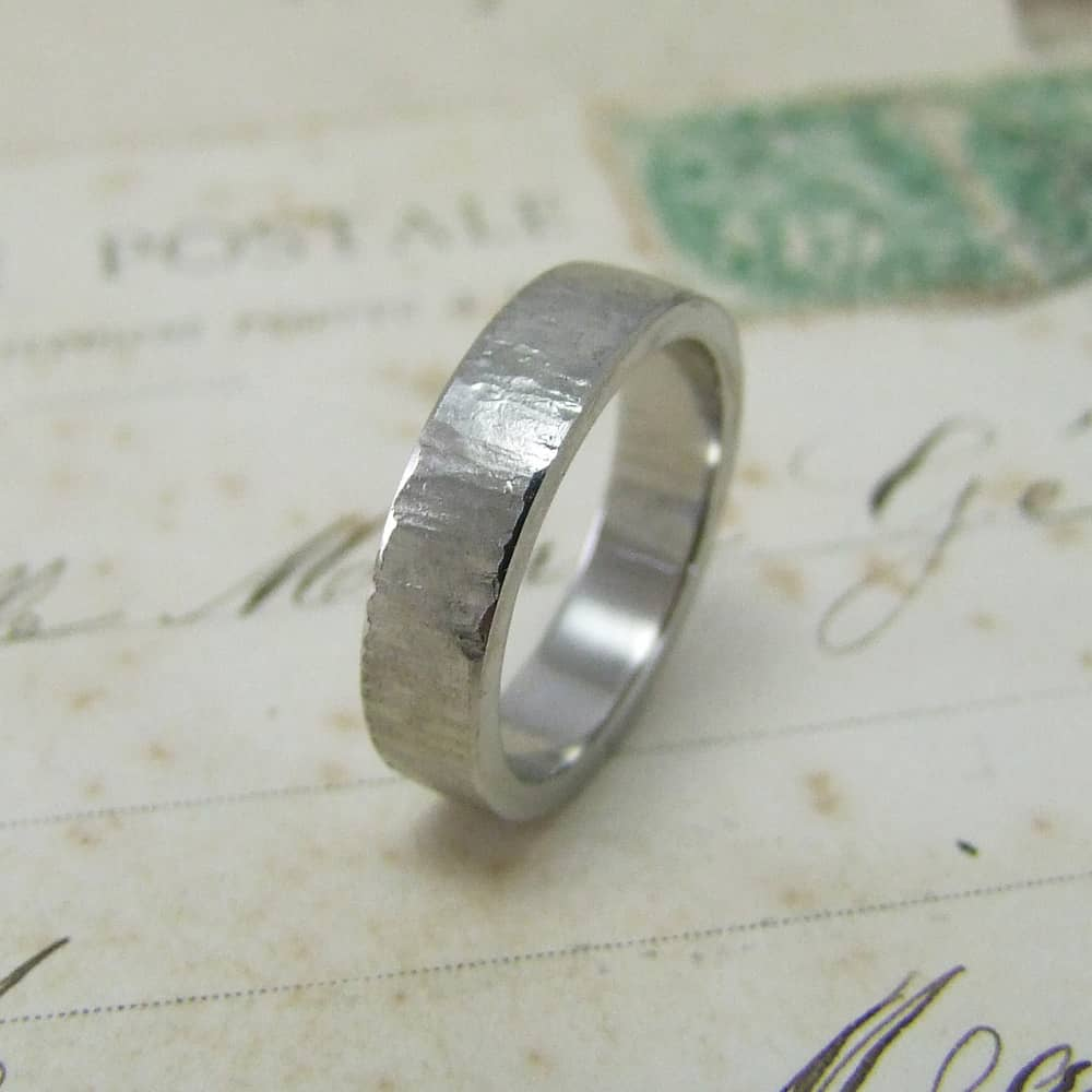 Flat Bark Texture Wedding Ring Palladium