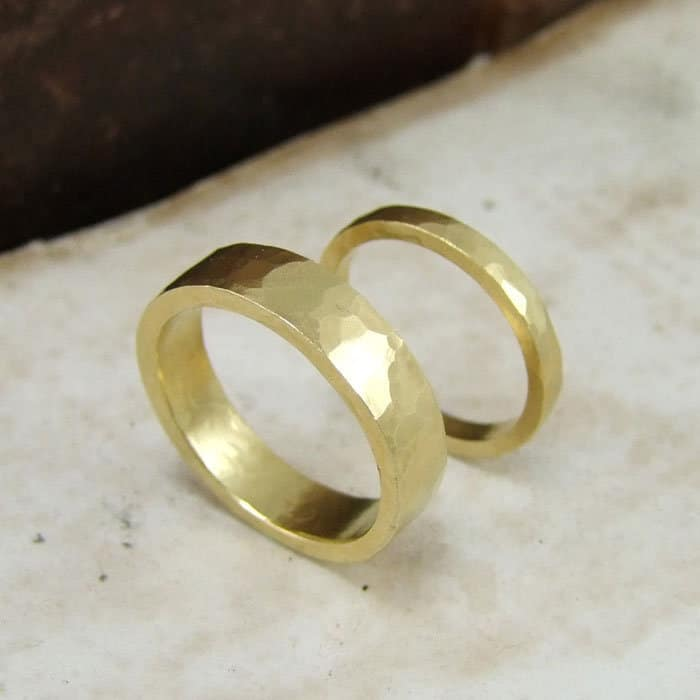 flat hammered wedding bands alexis dove jewellery