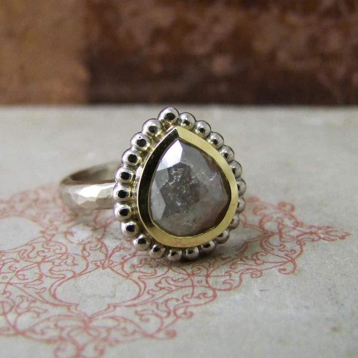 Grey Rose Cut Mixed Colour Gold Ring