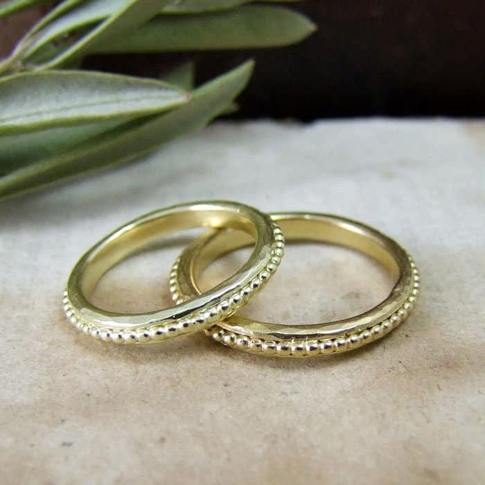Yellow Gold Beaded Rings