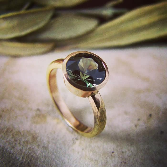 Green Sapphire Hammered Rose Gold Ring