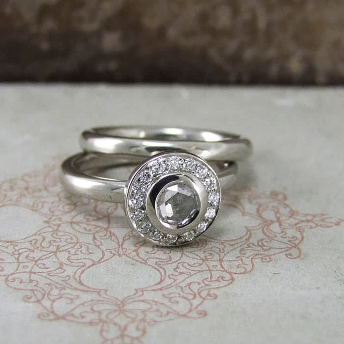 Lydia White Diamond Halo Ring