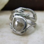 Palladium & Rose Cut Diamond Twig Ring