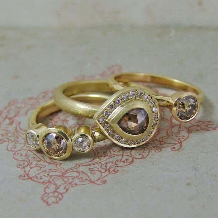 Cinnamon Diamond Rings