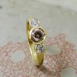 Cinnamon Diamond Three Stone Ring