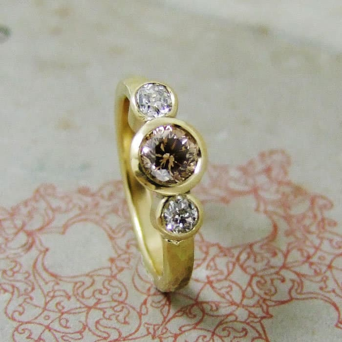Cinnamon Diamond Three Stone Ring