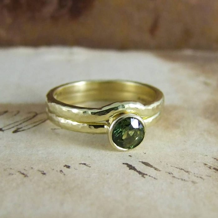 Green Sapphire Beaten Gold Engagement Ring and Wedding Ring Set