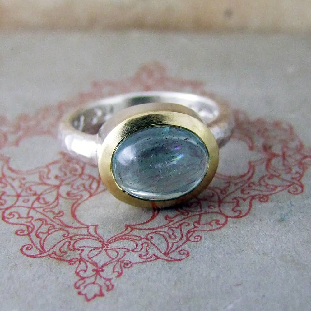 Cabochon Aquamarine Set In Silver & 18ct Yellow Gold