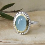 A Handmade Cabochon Aquamarine Beaded Ring In Silver & Gold
