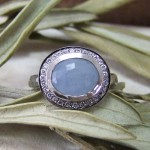Blue Sapphire Rose Cut Halo Diamond Ring