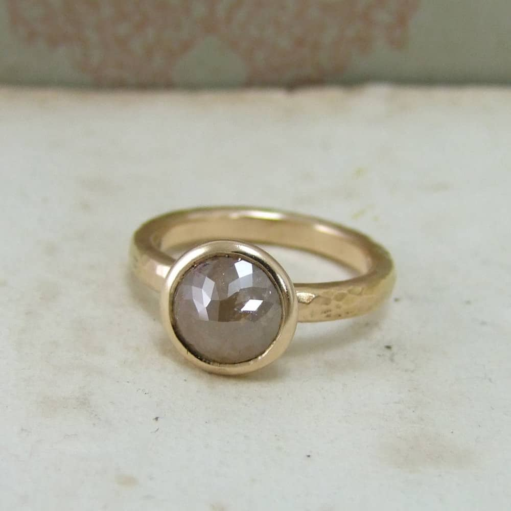 Cinnamon Round Rose Cut Diamond & Rose Gold Unusual Engagement Ring