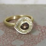 Chocolate Rose Cut Diamond Pave Set Halo Ring
