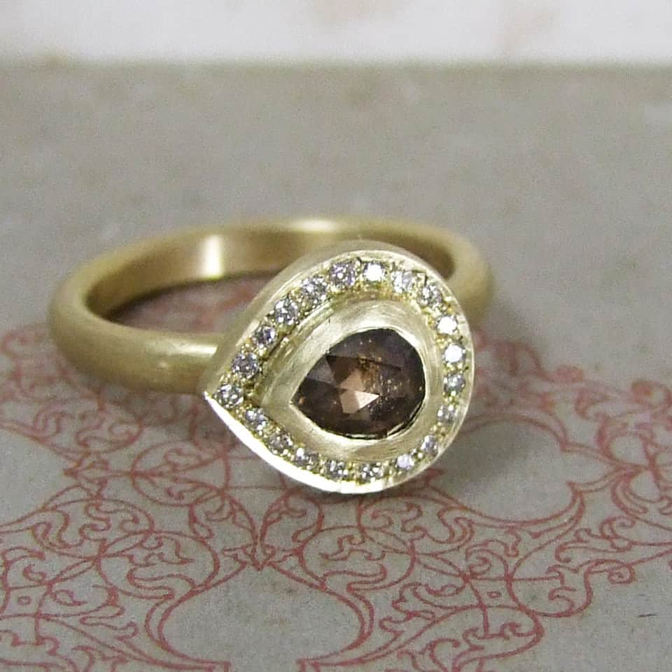 Chocolate Rose Cut Diamond Pave Set Halo Ring