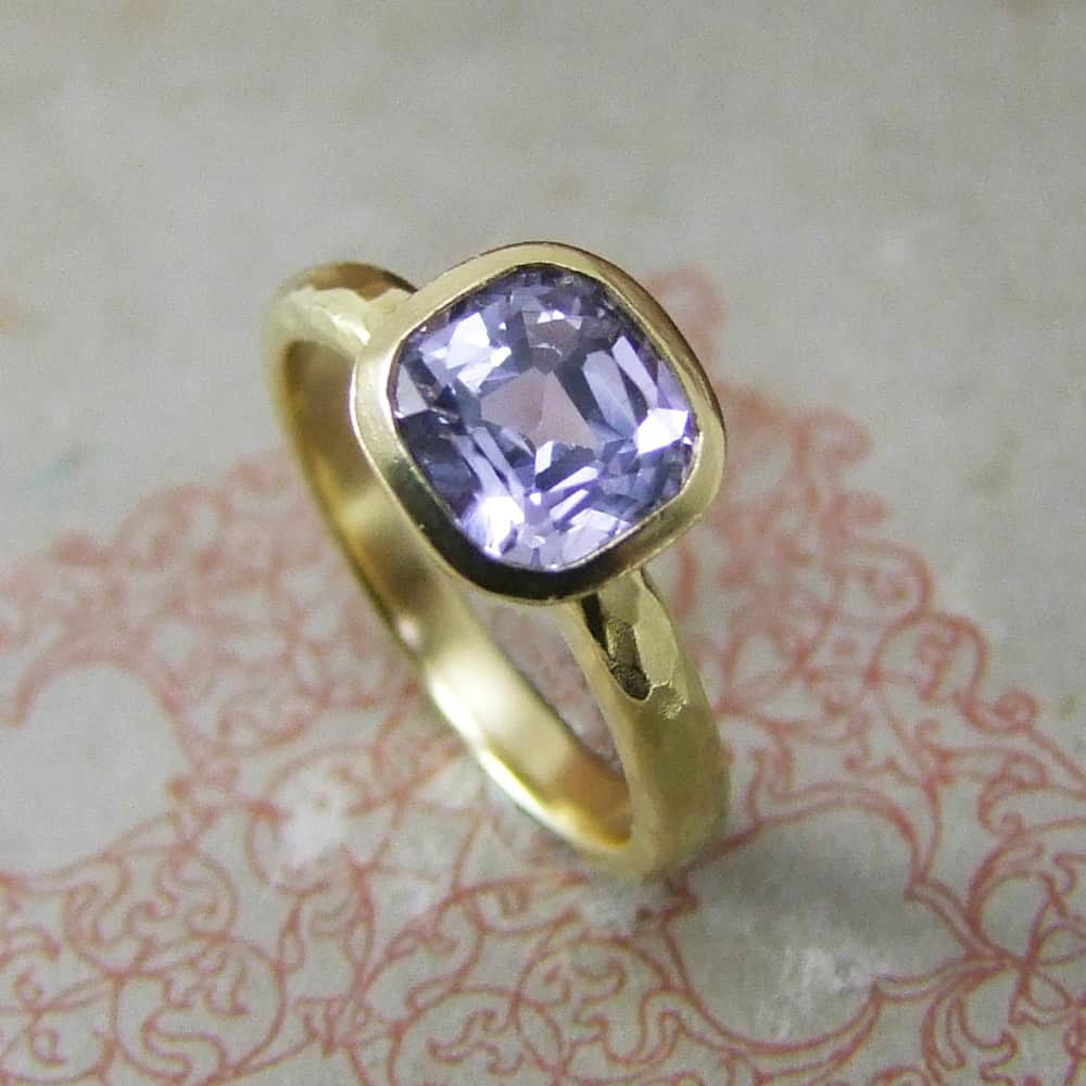 Cushion Cut Lilac Sapphire & Yellow Gold Engagement Ring
