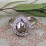 Cinnamon Grey Pear Shape Rose Cut Diamond & Pave Set White Diamond Halo Ring