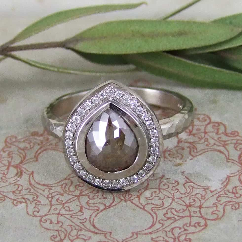 Cinnamon Grey Pear Shape Rose Cut Diamond & Pave Set White Diamond Halo Ring