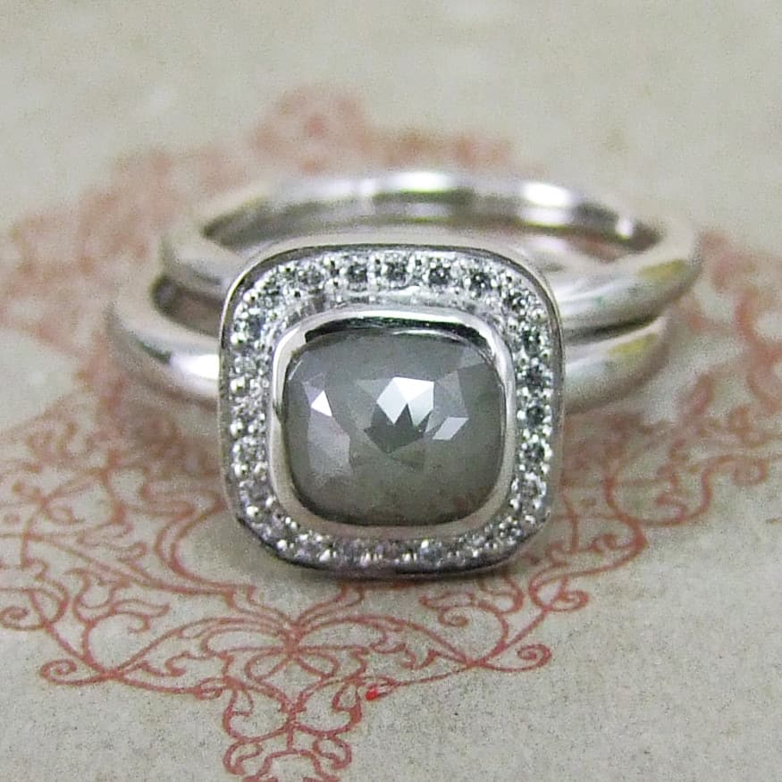 Pale Grey Cushion Shape Rose Cut Diamond Halo Ring & Matching Wedding Band