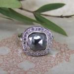 Charcoal Grey Rose Cut Diamond Halo Ring