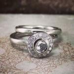 Platinum & White Diamond Rose Cut Halo Engagement Ring With Matching Wedding Band
