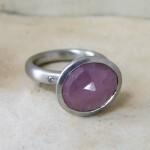 Palladium & Pink Sapphire Rose Cut  Ring & Pink Diamonds