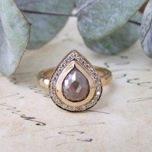 Rose Gold Cinnamon Rose Cut Diamond Halo Ring