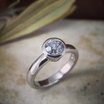 A .75 Point Old Mine Cut Diamond In White Gold