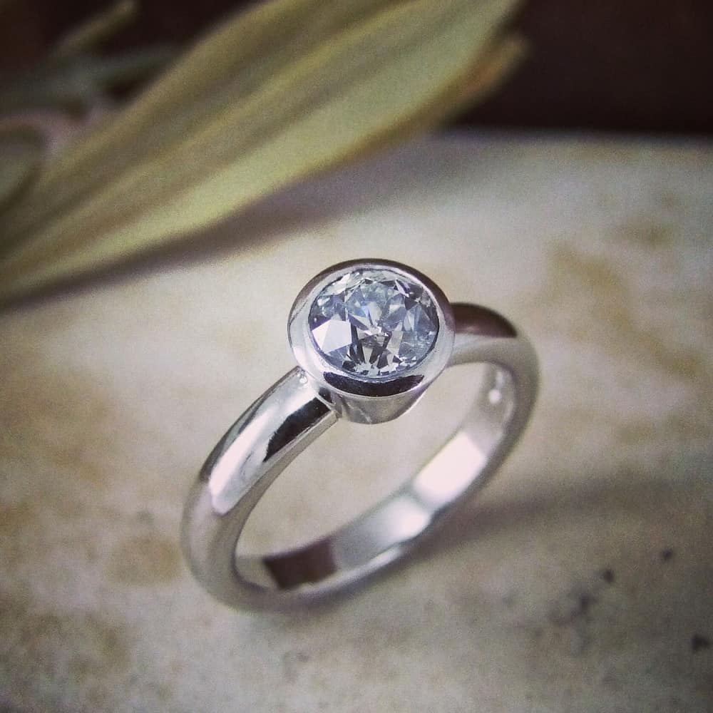 Old Mine Cut Victorian Diamond & White Gold Handmade Engagement Ring