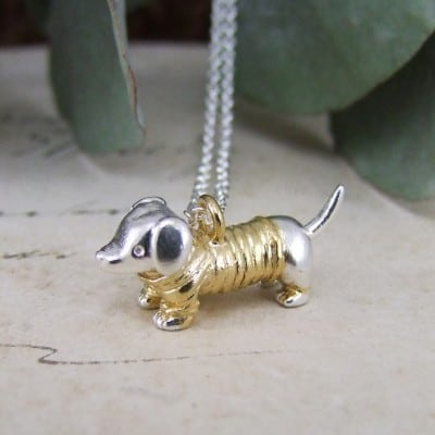 Yellow Jumper Sausage Dog Pendant