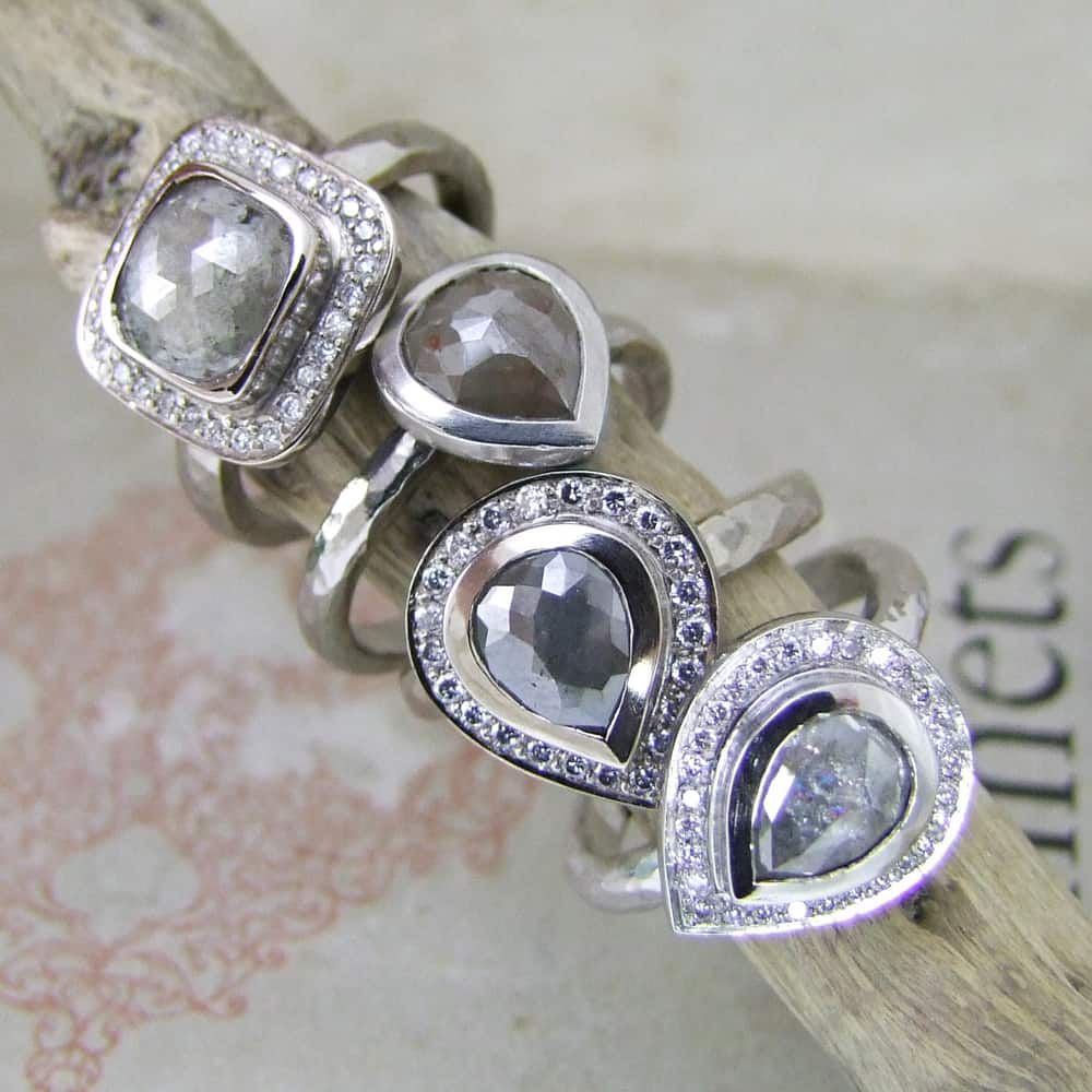 Grey Rose Cut Diamonds