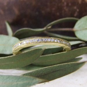 Hammered Eternity Pave Ring
