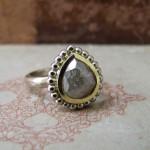 Grey Rose Cut Mixed Colour Gold Ring